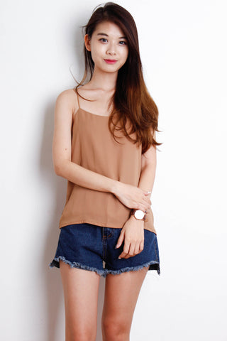 Basic Double Layered Chiffon Top in Khaki