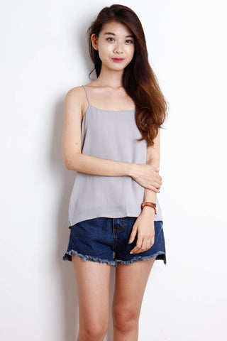 Basic Double Layered Chiffon Top in Grey