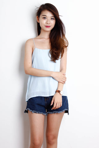 Basic Double Layered Chiffon Top in Powder Blue