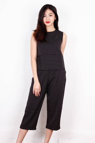Black Pinstriped Neat Top