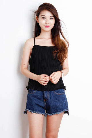 Ruffle Pleated Top in Black