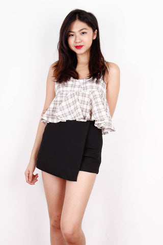 Mini Cream Checkered Peplum Top