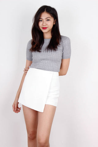 Grey Ribbed Fit Me Top