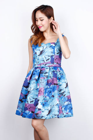 [LOVE BONITO] Floral Blue Florentine Dress