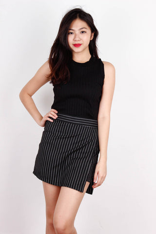 Black Sleeveless Ribbed Fit Me Top