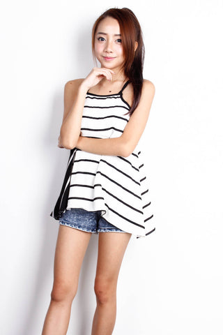 [THE TINSEL RACK] Criss Cross White and Black Stripe Top