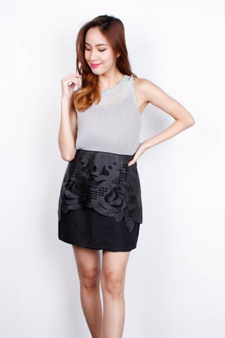 [MDS] Black Textured Skirt