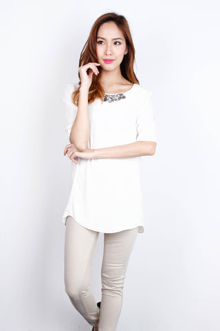 [ZARA] Bejewelled Cream Top