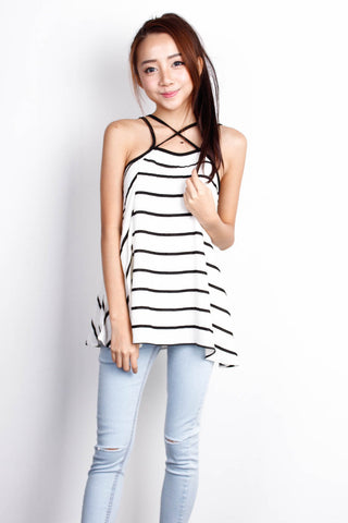 [THE TINSEL RACK] Criss Cross White Stripe Top