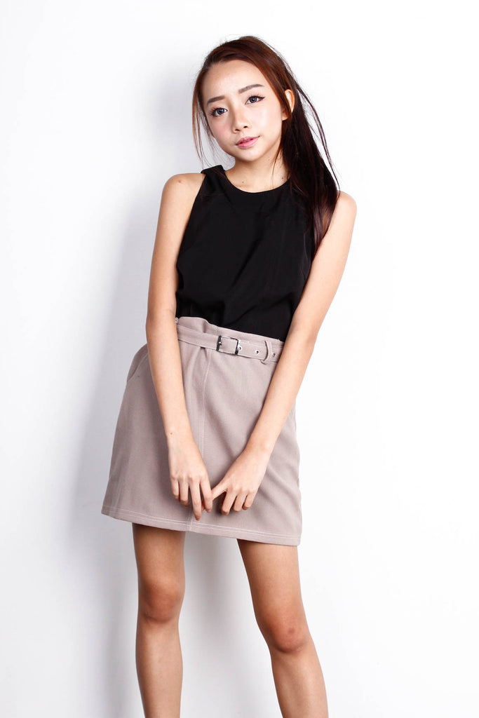 Brown Belted Skirt (S)