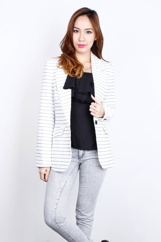[KLARRA] White Striped Blazer