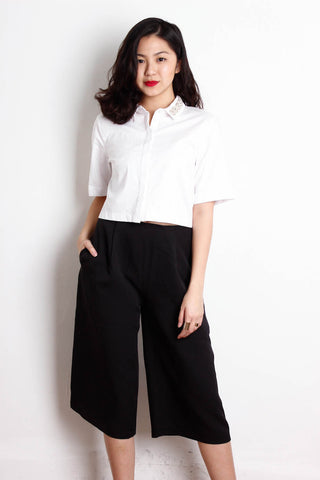 [MISS SELFRIDGE] Embellished Boxy Crop Shirt