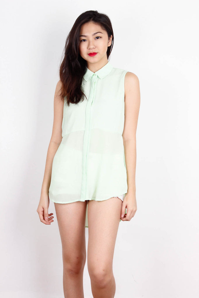 [FOREVER21] Lime Button Down Chiffon Top
