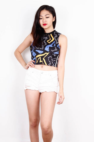 [LOVE BONITO] Blue And Yellow Abstract Design Top