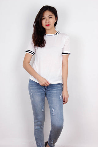 White Double Outlined Top
