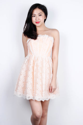 [LOVE BONITO] Coral Lace Off Shoulder Dress