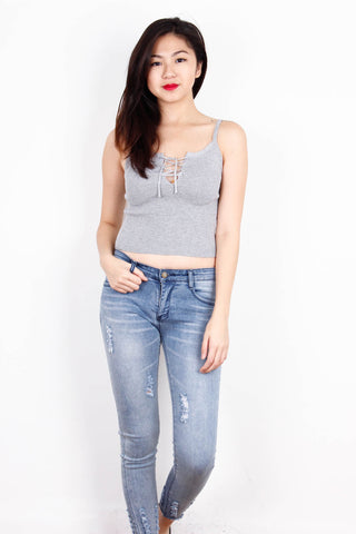 Grey Lace Up Crop Tank Top