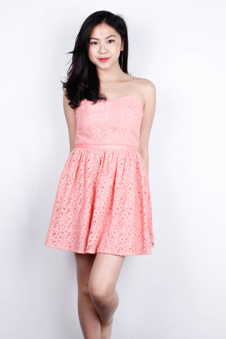 [LOVE BONITO] Peach Crochet Bustier Dress