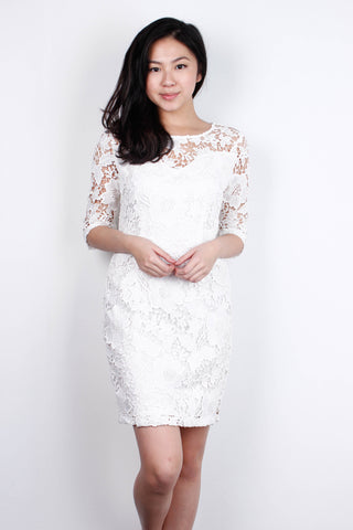 [LOVE BONITO]  Cream White Crochet Dress
