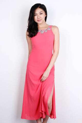 [THE CLOSET LOVER] Bejewelled Hot Pink Maxi