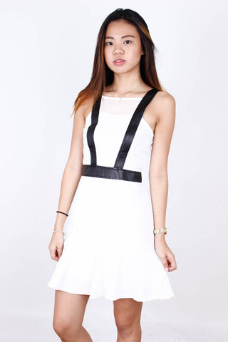 [SOMETHINGBORROWED] White Dress with Black Straps