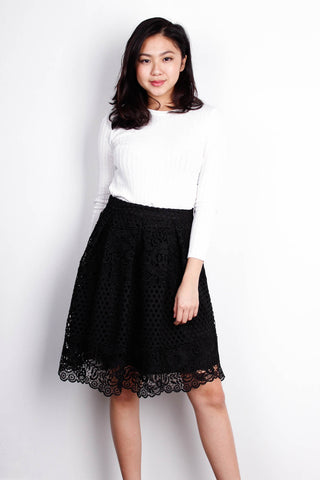 Crochet Knee Length Skirt in Midnight Black (S)