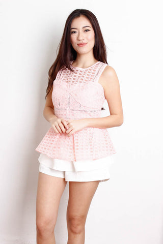 [THE CLOSET LOVER] Square Netted Crochet Peplum Top