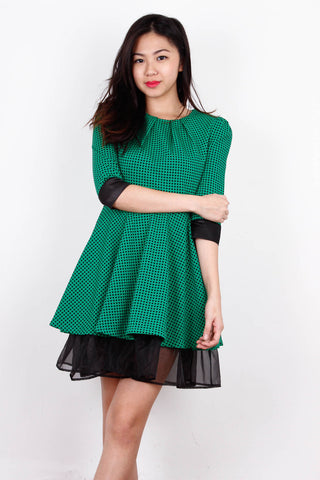 [THREESEASONS] Green Grid Frill Dress