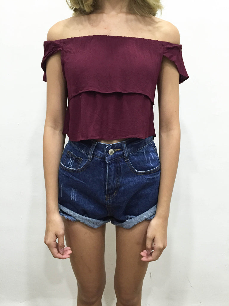 [CHERIS] Layered Maroon Off Sholder Top