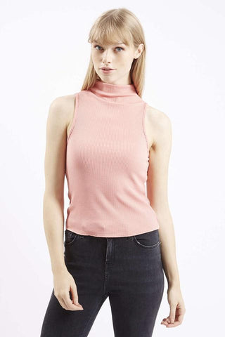 [TOPSHOP] High Neck Ribbed Funnel Neck Top