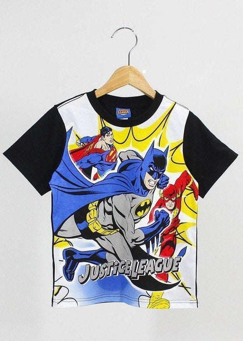 เสื้อยืดเด็ก ซุปเปอร์ฮีโร่ Justice League Kid: T shirt-T-Shirt-Justice League-White/Black-4-Characters Studio