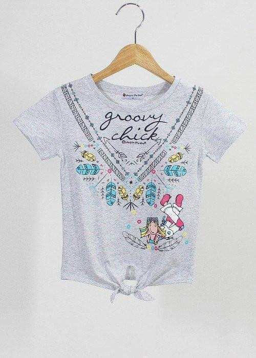 เสื้อยืดเด็ก กรูฟวี่ชิค Groovy Chick - T-Shirt-T-Shirt-Groovy Chick-Light grey-4-Characters Studio