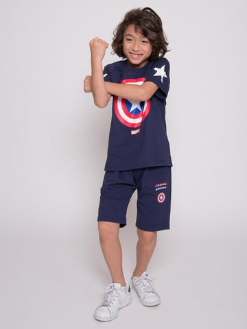 กางเกงขาสั้นเด็ก Marvel Kid - Captain America Shorts-Shorts-Marvel-Navy-3-Characters Studio