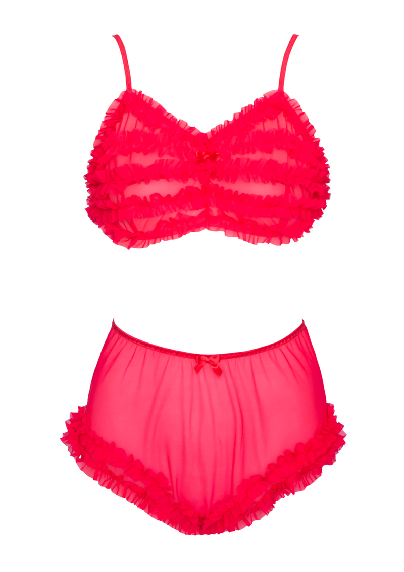 Jayne Ruffle Lingerie Set - Red