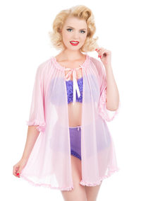 Jayne Bed Jacket & Ruffle Lingerie Set - Multiple Colours Available