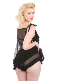 Jayne Tie Shoulder Babydoll & Ruffle Knickers Set - Multiple Colours Available