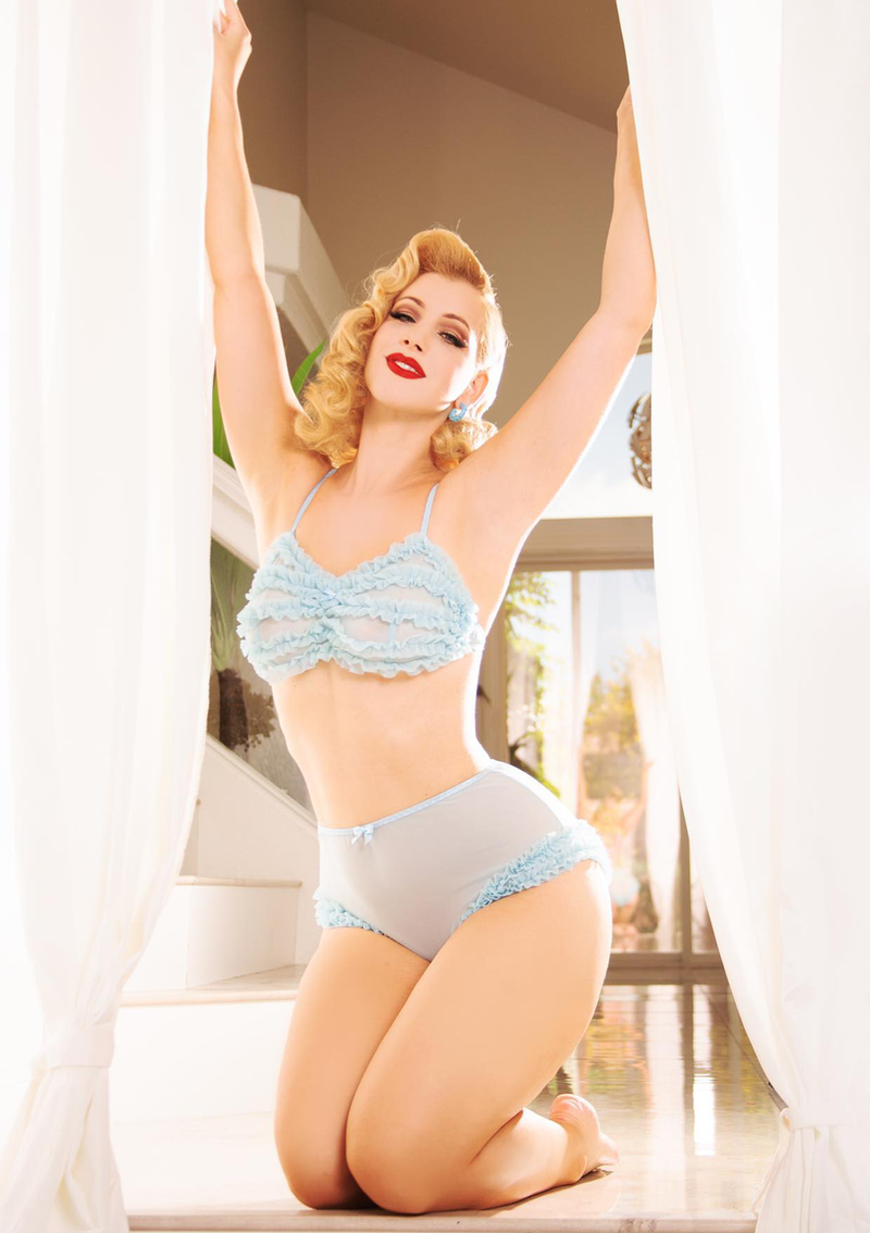 Jayne Ruffle Lingerie Set - Powder Blue