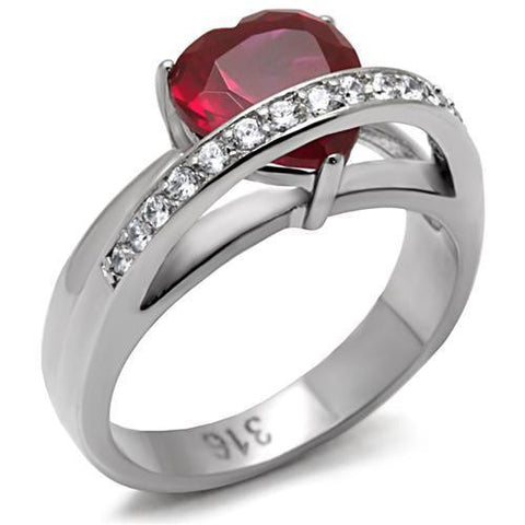 Bague coeur rouge CZ et stainless steel