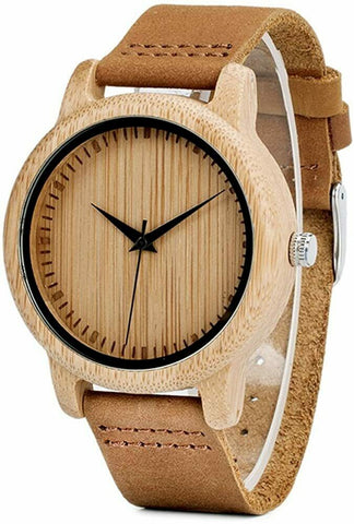 "Montre en cuir et bamboo de la ""Collection de Noah"""