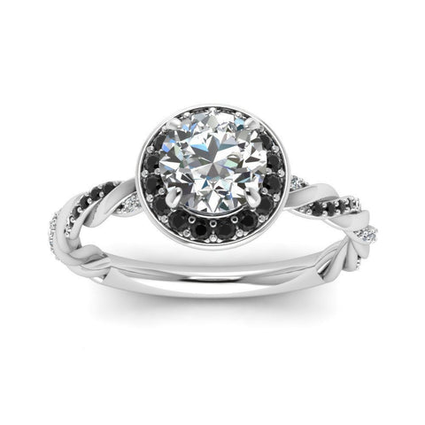 Splendide solitaire infini de diamants blancs et noirs