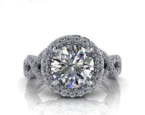 Sublime bague halo en or 10K et diamants
