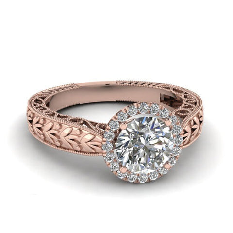Sublime solitaire halo en or rose et diamant