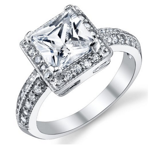 Bague coupe princesse de 2.5ct CZ