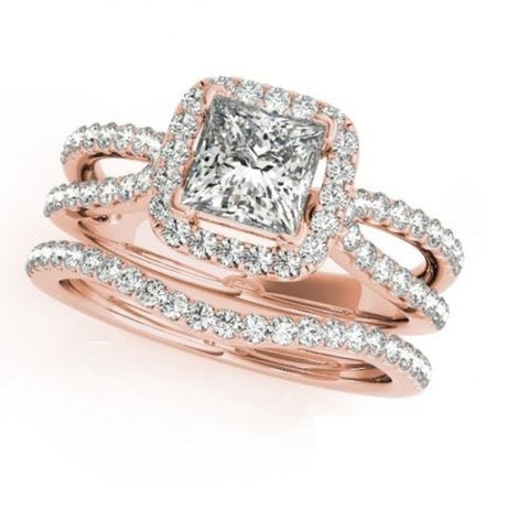 Sublime ensemble de bagues de diamants et or rose