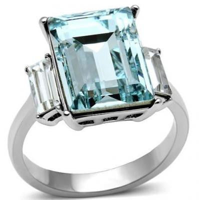 Bague d'aquamarine en stainless steel