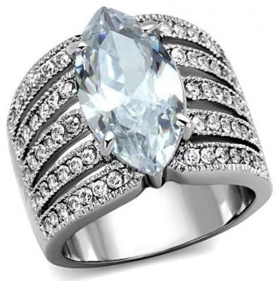 Bague coupe marquise 5ct CZ en stainless steel