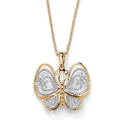 Collier papillon deux tons