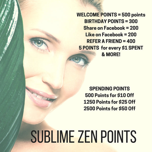 New SUBLIME ZEN POINTS Reward Program in Place