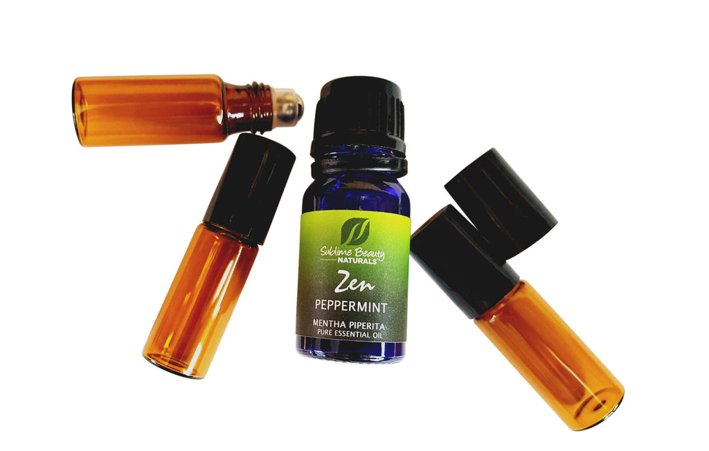 3 Mini Amber Rollerballs for Essential Oils