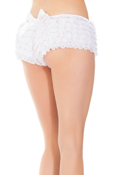 Ruffled Booty Shorts in White